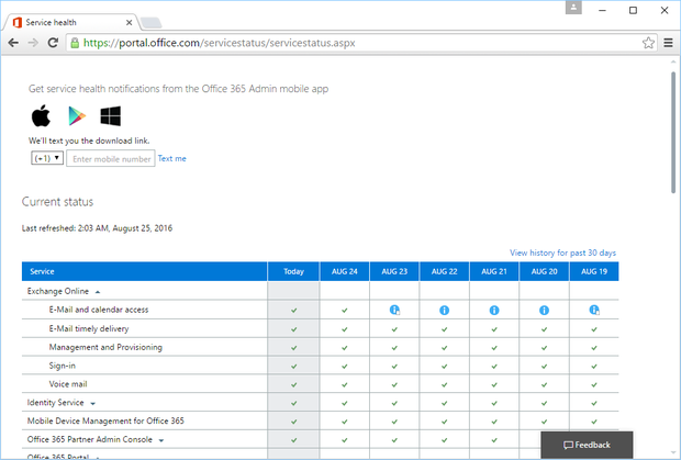 Office 365 status website