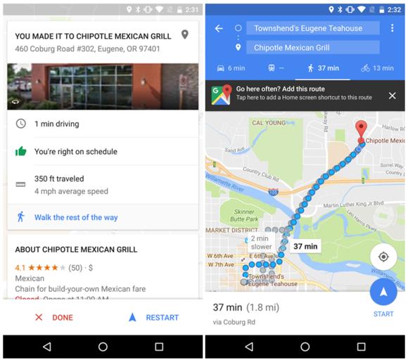 google maps arrival