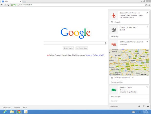 Google Now Chrome Notification Center