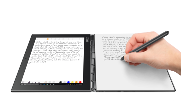lenovo yoga book handwriting digitized portrait w paper