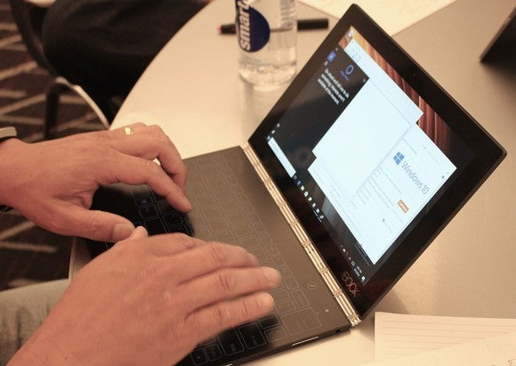 lenovo yoga book windows hands