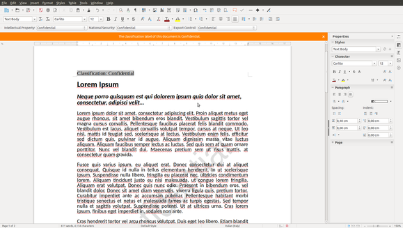 A classified document in LibreOffice Writer.