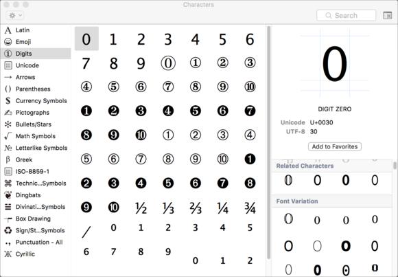 mac911 characters palette font variants