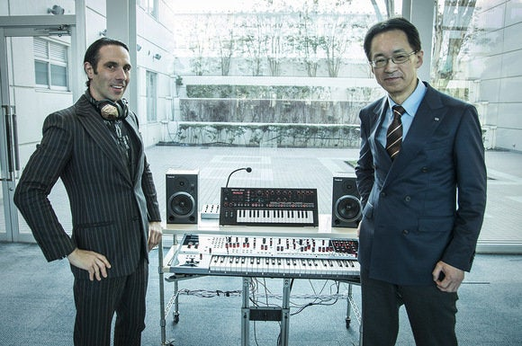 Val Kolton, V-MODA CEO, and Jun-ichi Miki, CEO of Roland.