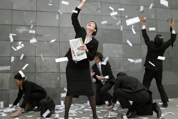 money raing down people winnings windfall