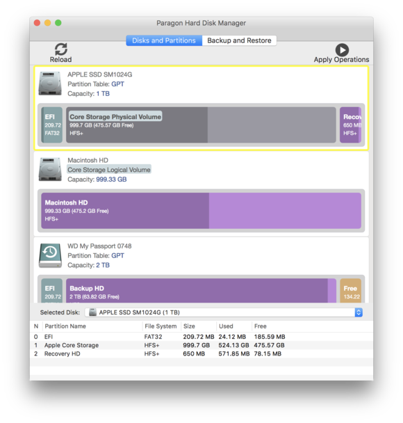 paragon hard disk manager disks and partitions