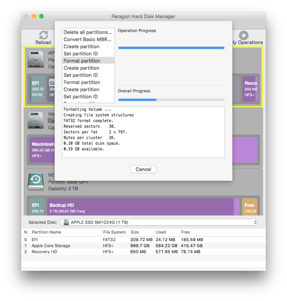 paragon hard disk manager format in progress