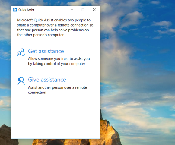 windows 10 quick assist give and get screen