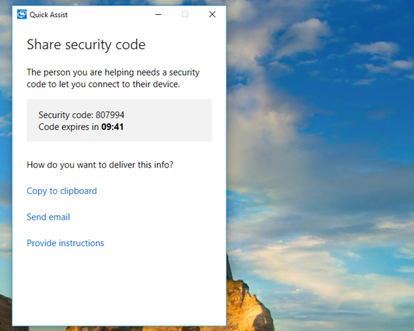 windows 10 quick assist share security code
