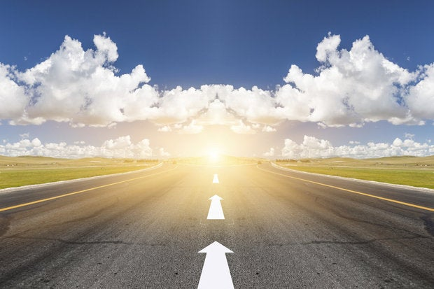road to future forward idea cloud road