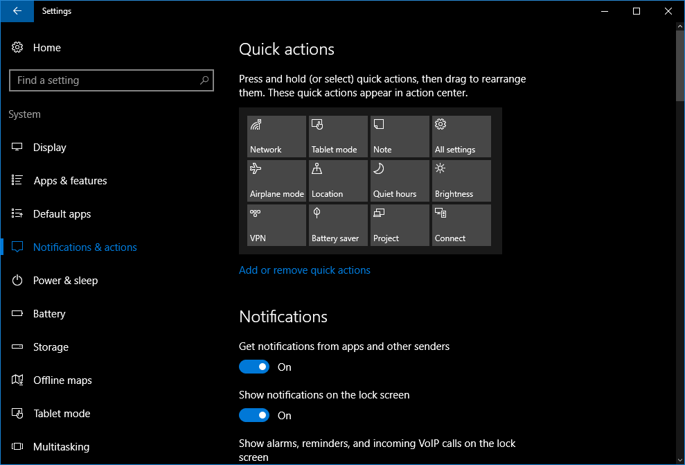 How to rearrange the quick-actions tiles in the Windows 10