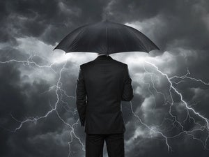 umbrella businessman protection stormy dark insurance
