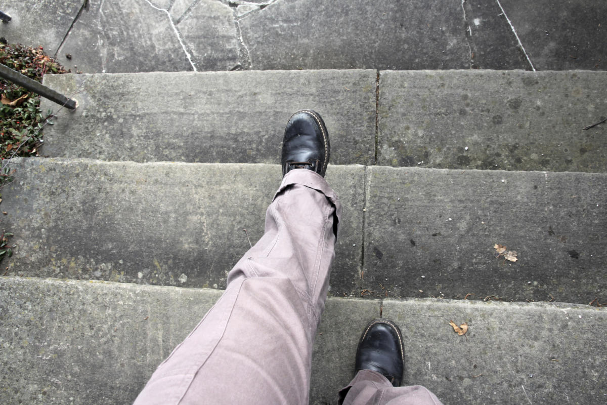 walking down steps stairs