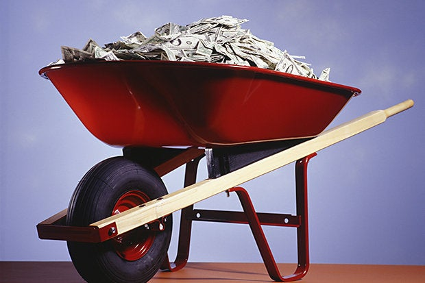 wheelbarrow money