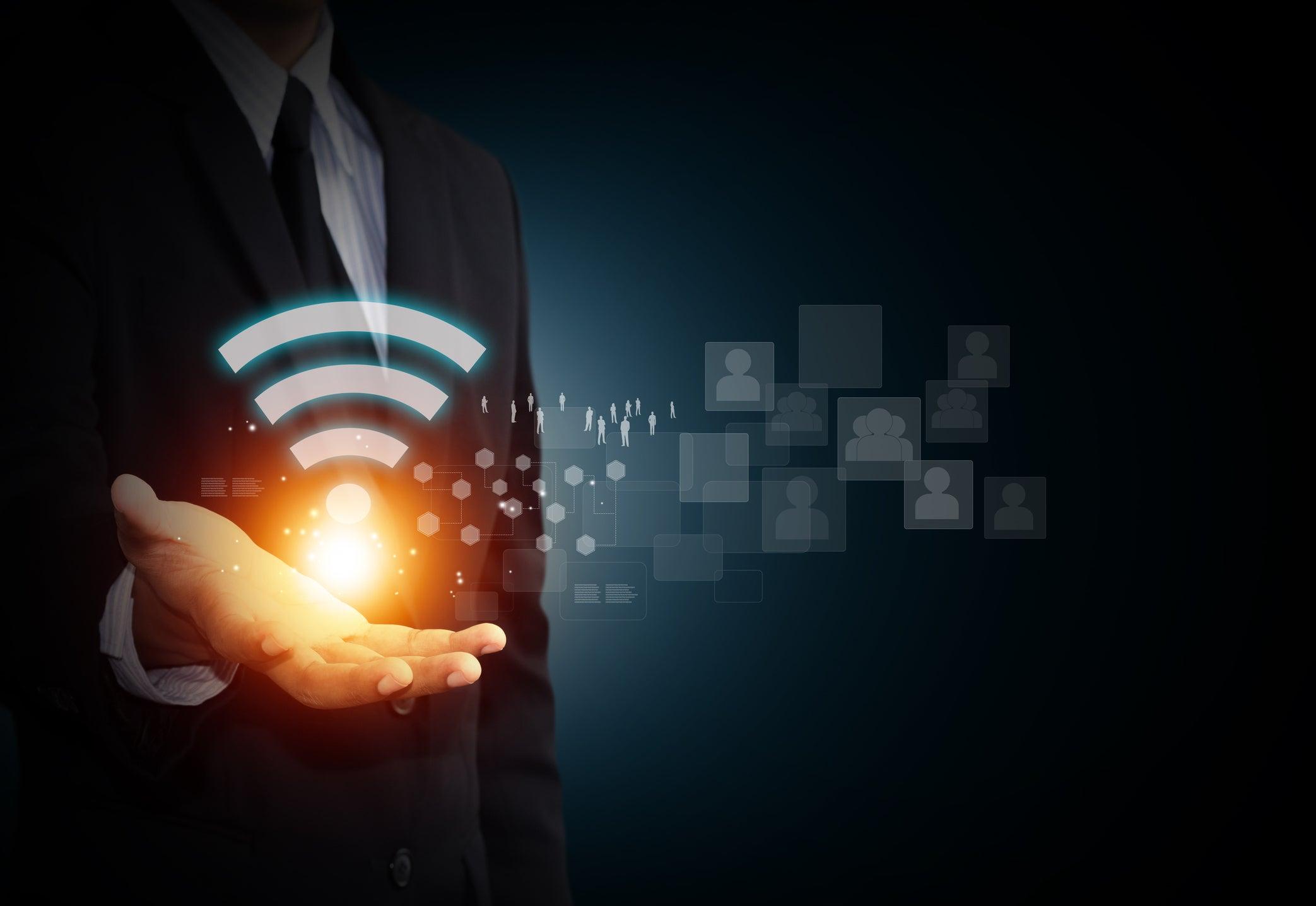 wifi hand businessman