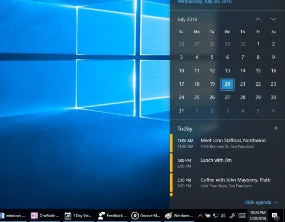 windows 10 calendar popup