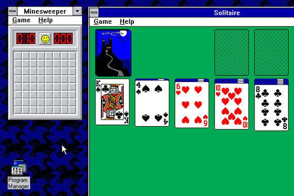 windows 3.1 solitaire and minesweeper