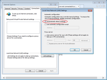 wpad configuration Windows detect settings proxy
