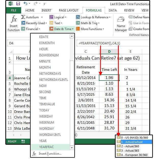 Excel Date & Time functions tutorial: EDATE, YEARFRAC
