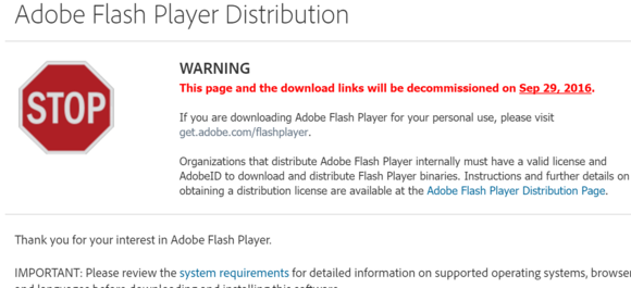 adobe flash player warning