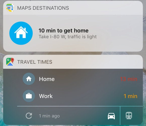apple maps google maps ios widget