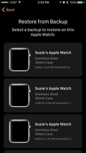 apple watch backup