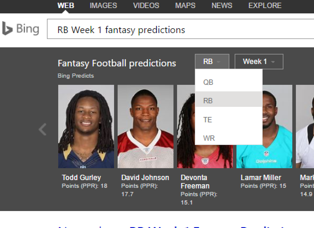 Bing's NFL predictions for Week 1 include several upsets, and one it
