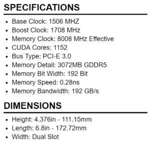 evga gtx 1060 3gb specs