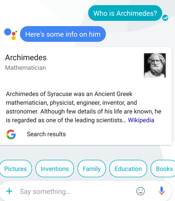 google assistant search and info