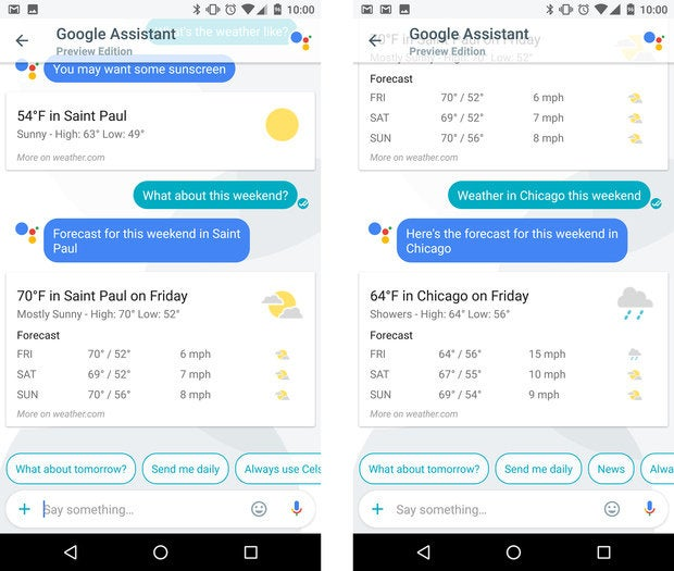 google assistant tips weather