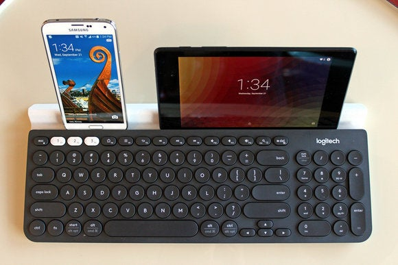 Logitech K780 Keyboard Top View with Two Devices