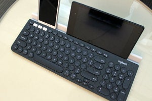 Logitech K780 Keyboard Angled View with two devices