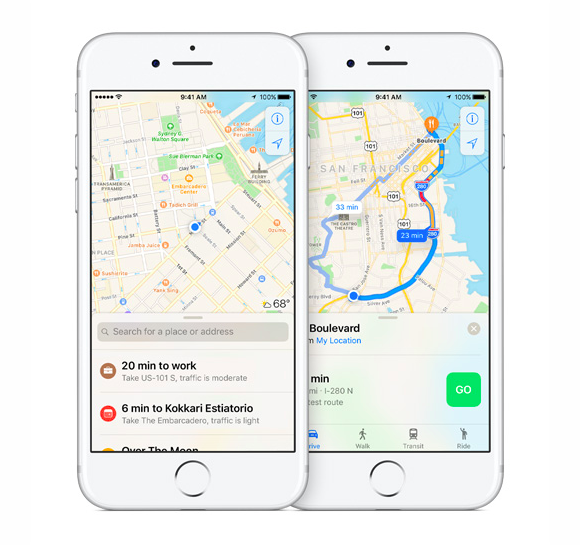 ios10 maps destinations