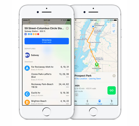 ios10 maps transit