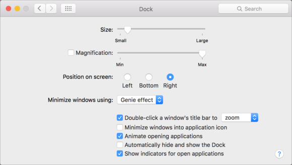 mac911 dock preferences