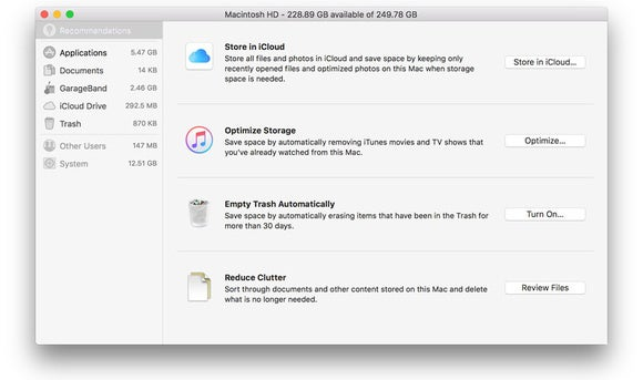 macos sierra optimized storage