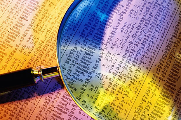 magnifying glass stock prices