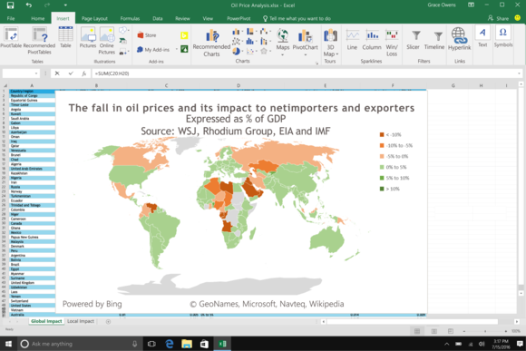 microsoft excel maps