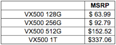 Toshiba OCZ VX500 SSDs