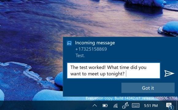 windows 10 notification text message