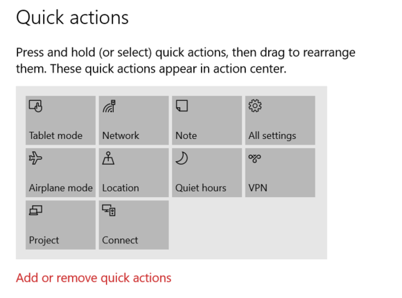 windows 10 quick actions