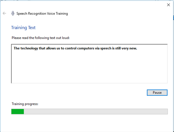 windows 10 speech training
