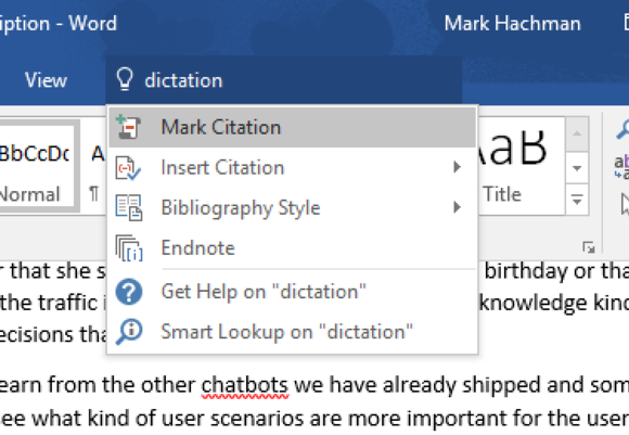 Microsoft word dictation