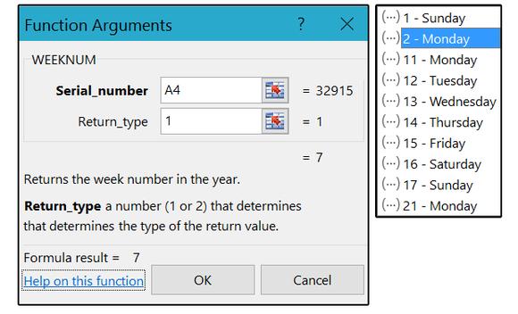 02 weeknum function arguments