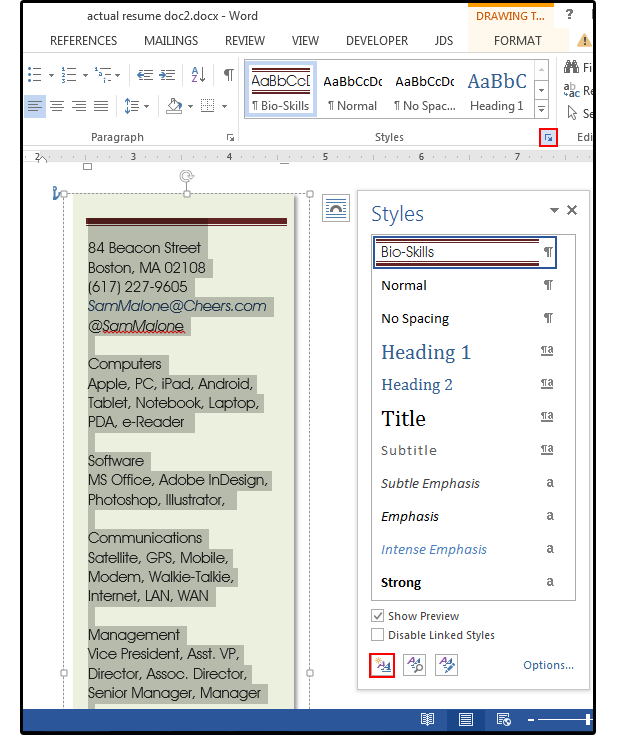 Word resume tips: Using style sheets, shapes and text boxes for a
