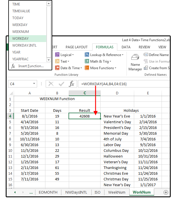 Excel Date and Time functions: WEEKNUM, ISOWEEKNUM, WORKDAY, WORKDAY