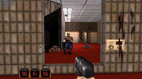 杜克核武器3D的20周年纪念版踢屁股和嚼泡泡糖