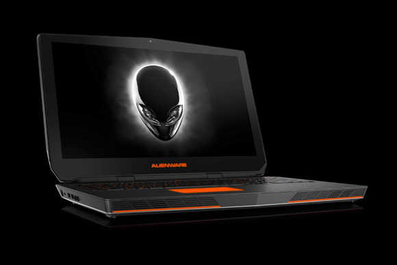 An Alienware laptop with the company's distinctive red-and-black color scheme.