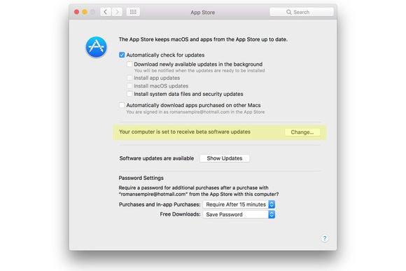 computer set to receive updates