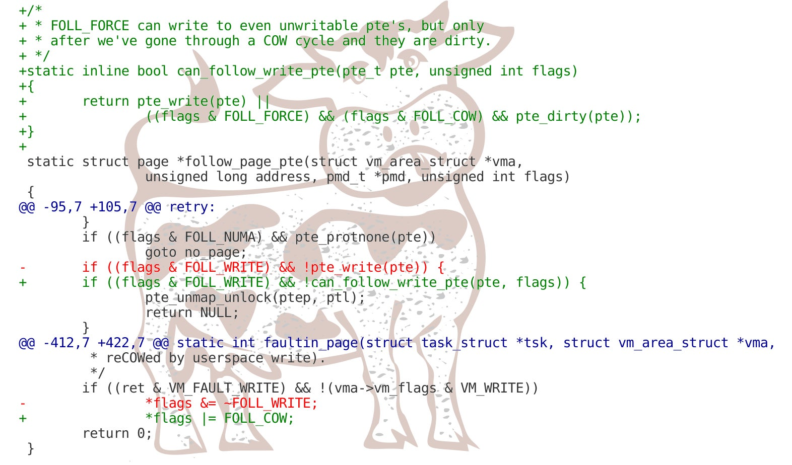 Dirty COW and patch code